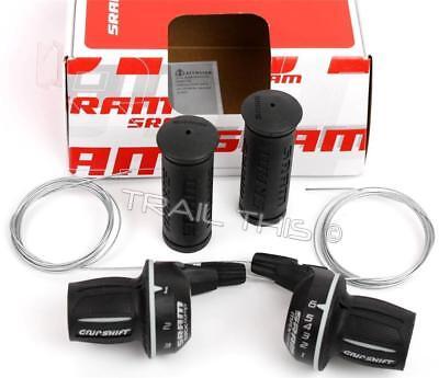 Grip Shifter Set - SRAM MRX Comp 3x6 Grip Shift 18-Speed Bike Twist Shifter Set Cables fits Shimano