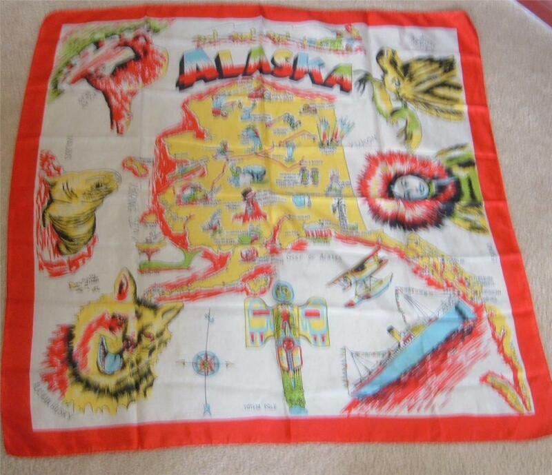 "Vintage Alaska State Map Silk Scarf Souvenir 34"" x 34""  Square Multi Color MINT"