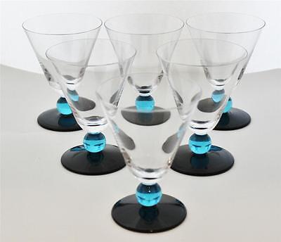 Blue Ball Stem & Base, Set of 6 Wine Glasses