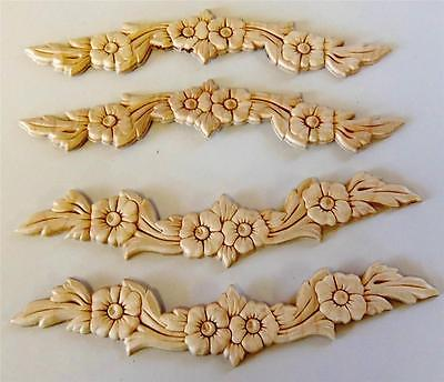 LOT of 4 Onlays Appliques Birch Wood Embossed Gingerbread Flowers Leaves 9-3/4