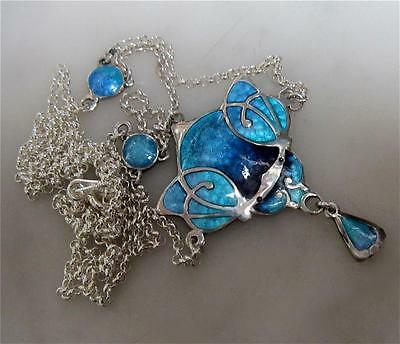 Lovely Art Nouveau Style Sterling Silver and  Enamel Drape Necklace.