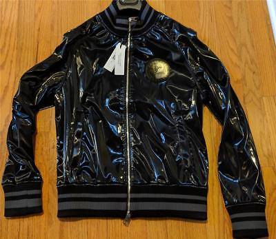 $1095 Mens Authentic Versace Collection Shiny Bomber Jacket Black 50 Medium