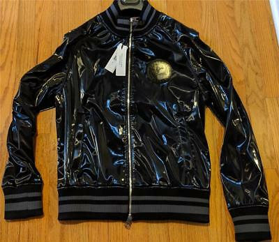 $1095 Mens Authentic Versace Collection Shiny Bomber Jacket Black 50 (Mens Collection)