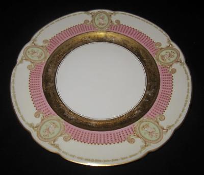 Black Knight Blk51  Gold Pink   Cream Rim W  Ladies Cameos Dinner Plate  11