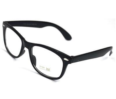 Vtg Wayfarer Schwarz Klare Linse Geek Brille Weste Neu mit Etikett Neu