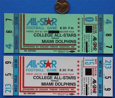 1974 Super Bowl Champions Miami Dolphins Vs.College All-Stars 2 ticket set-NICE*