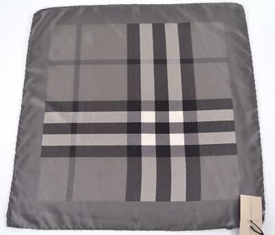 New Burberry $175 Silk Grey Exploded Beat Nova Check Square Twill Neck Scarf