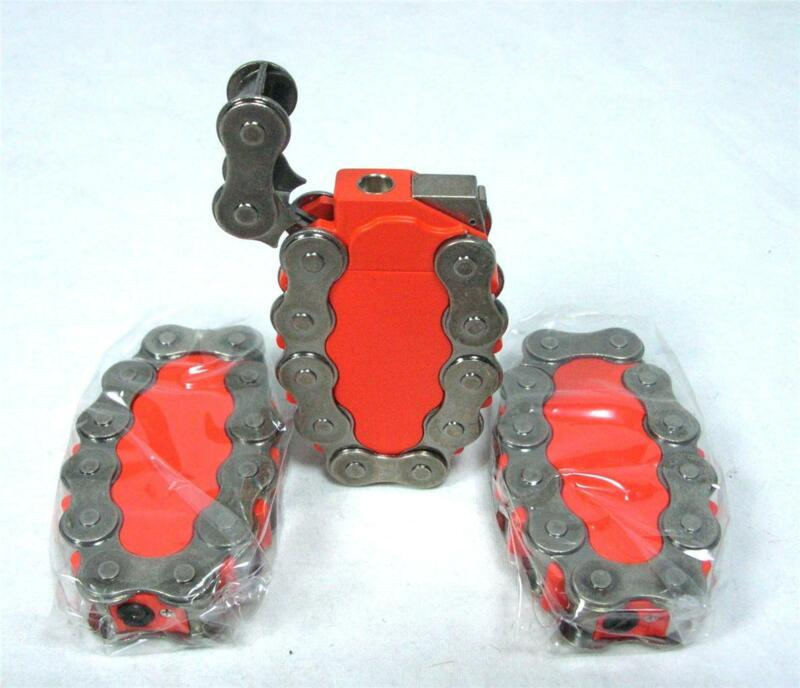 Lot Of 3 Biker Chain Link Motorcycle Refillable Torch Cigarette Lighter A-6