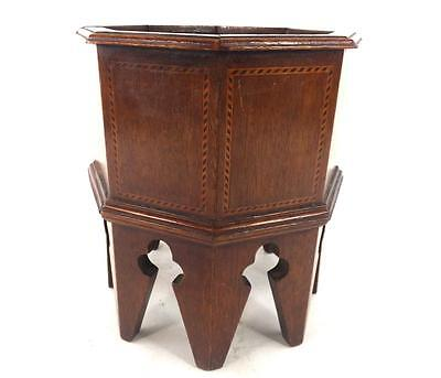 ANTIQUE OCTAGONAL INLAID ENGLISH WOODEN WOOD PLANTER POT 8 1/4