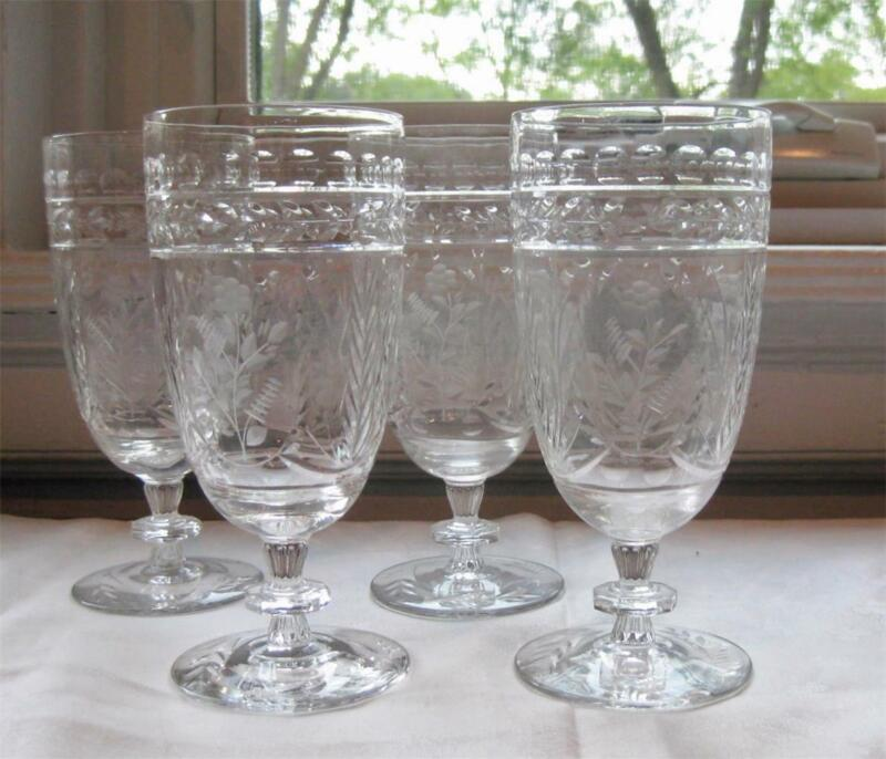 4 vintage ROCK SHARPE Cut Crystal FRONTENAC ICED TEA Glasses 323190 #2 / 2 1chip