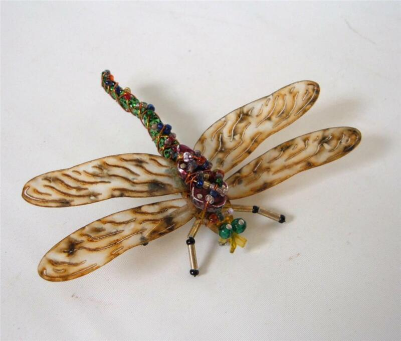 Vintage Beaded Lucite Dragonfly Brooch Pin Signed Betts Multi Color Life Sized