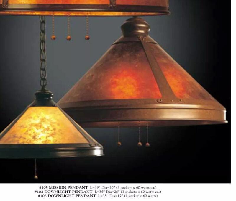 "Mica Lamp Co. ARTS & CRAFTS MISSION Original 17"" PENDANT #103 AMBER MICA REAL"