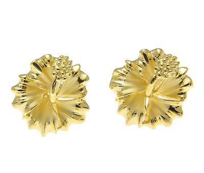 YELLOW GOLD ON SILVER 925 HAWAIIAN HIBISCUS FLOWER STUD POST EARRINGS 10MM-15MM Yellow Gold Flower Earrings