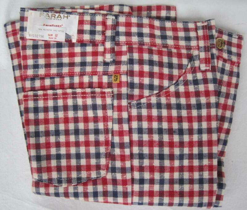 FARAH Boys Red Blue PLAID Vintage Flare Pants Slim 12 W24 Poly Cotton 1970