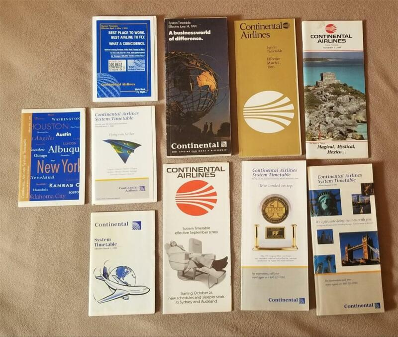 CONTINENTAL AIRLINES 10 Different Airline Timetables Lot 80s-90s-00s A383