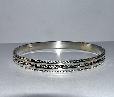 Native American Bangle Bracelet with Roping Design Sterling Silver Signed M Tahe