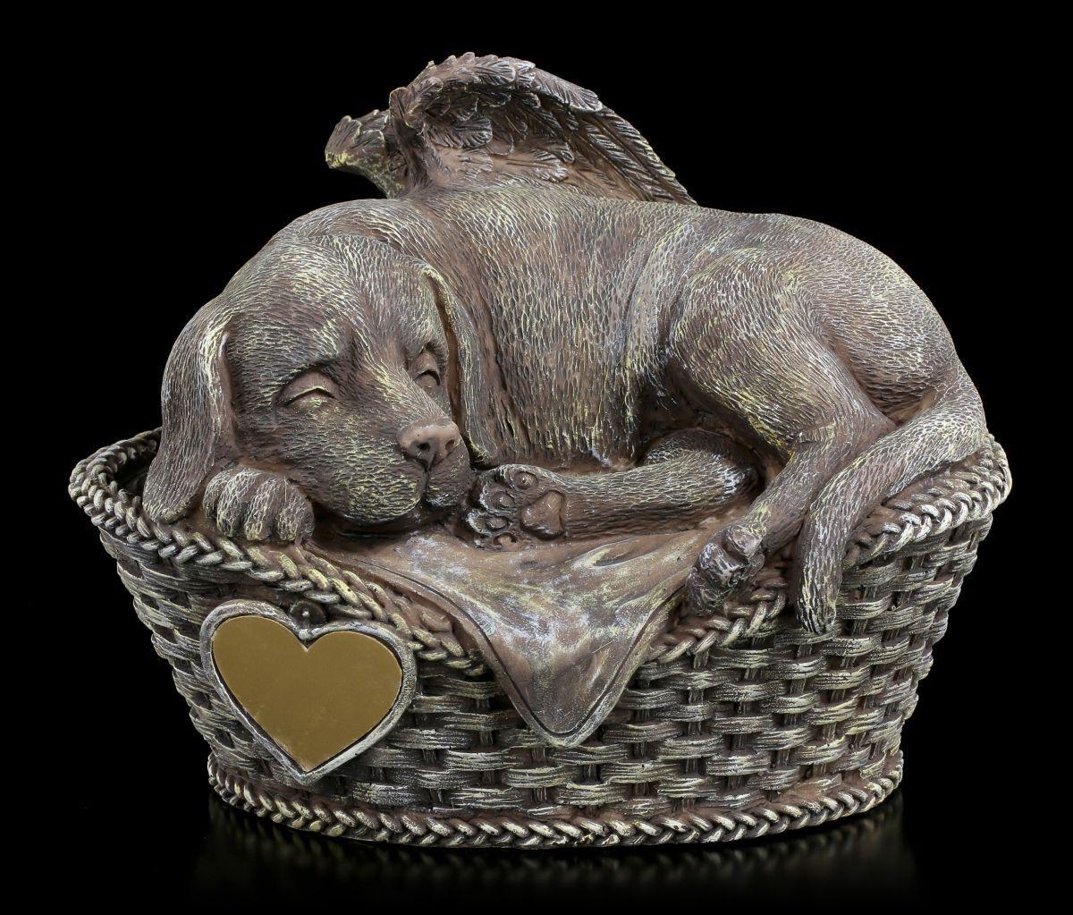 Tier Urne - Hunde-Engel mit Gravurplatte in Steinoptik - edle Hunde Urne Deko