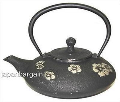 Set of 4 JapanBargain S-2549, Plum Blossom Cast Iron Teapot, 18 oz. Black