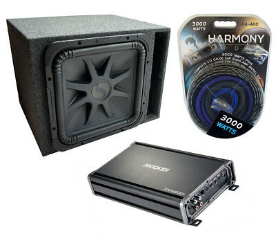 "Car Audio Single 15"" L7 Loaded Kicker L7S15 Vented Sub Box & CX1200.1 Amp Pack"