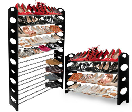 OxGord Shoe Rack for 50 Pair Wall Bench Shelf Closet Organizer Storage Box Stand