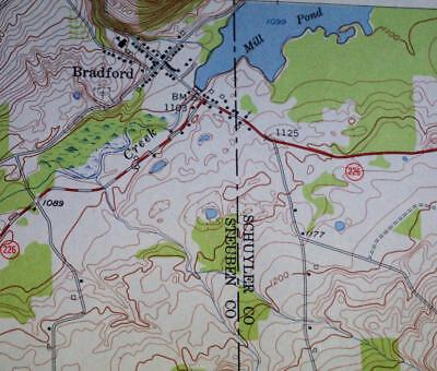 BRADFORD NEW YORK QUADRANT TOPOGRAPHIC SURVEY ROAD MAP 1953 VINTAGE
