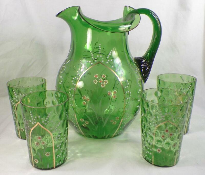 Antique Water Set Pitcher 3 Tumblers Green Blown Glass Enamel Flowers Victorian
