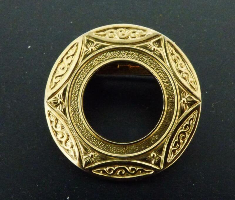 Vintage Round Patterned Scarf Clip/Brooch/Pin
