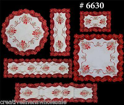 Christmas Poinsettia Placemat Table Cloth Runner Tablecloth Holiday White Red - Christmas Table