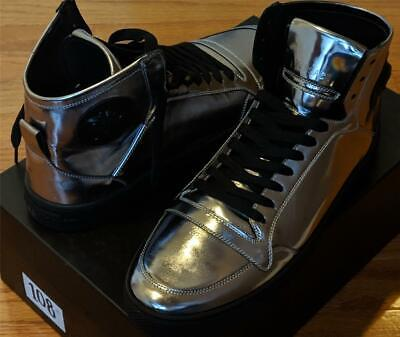 $875 Versace Collection Metallic Gunmetal High-Top Leather Sneakers 42 US 9