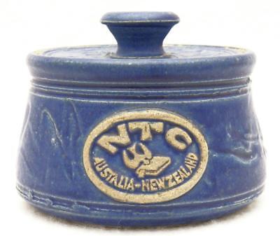 Nazarene Theological College Blue Glaze Pottery Bowl w Lid Australia New Zealand