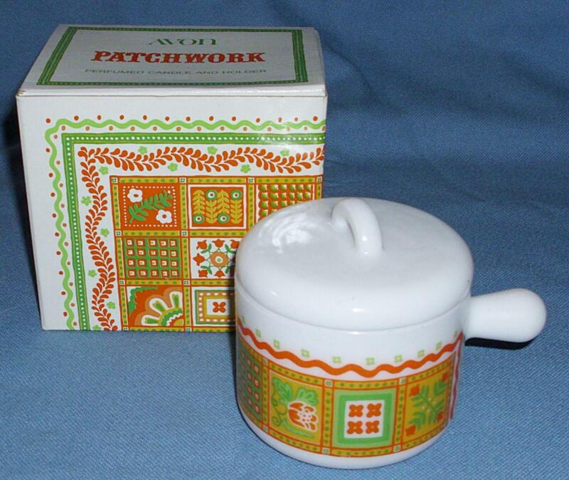 AVON PATCHWORK CANDLE HOLDER WHITE RETRO GLASS CUP DISH JAR VTG W/LID IN BOX NOS