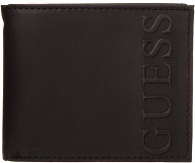 NEW GUESS FRESNO BLACK LEATHER PASSCASE BILLFOLD CREDIT CARD CASE MEN'S WALLET
