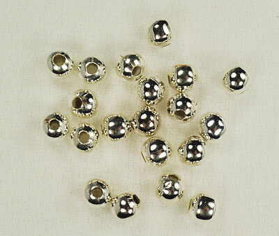 20 Pcs Sterling Silver 6.5mm Round Seamed Beads .925 Spacers Bead  Findings 2190