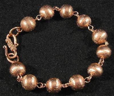Brushed Textured Pure Copper Ball Round Link Chain Bracelet 8