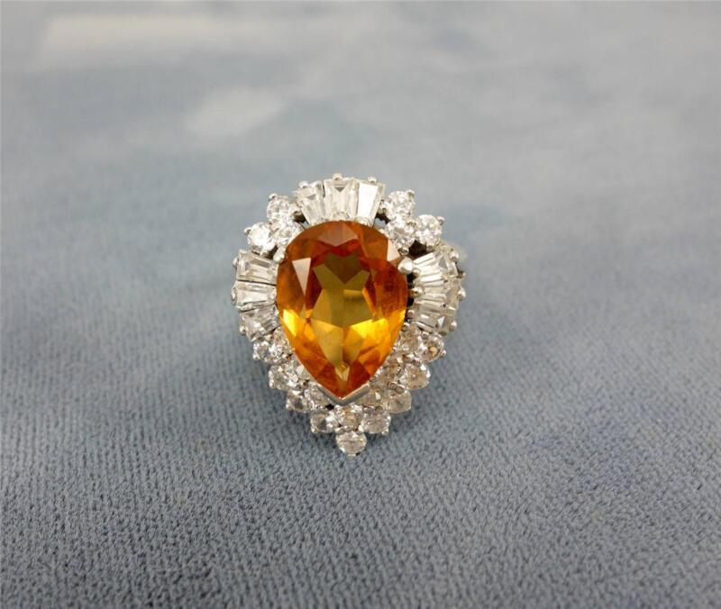 Sterling Silver ladies teardrop pear cocktail yellow golden citrine ring 9 EUC
