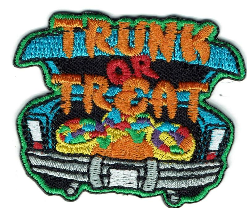 Girl Cub TRUNK OR TREAT treatng car Patches Crest Badge SCOUTS GUIDE Halloween