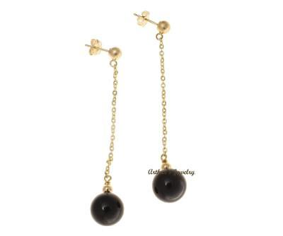 GENUINE BLACK CORAL DANGLE EARRINGS LINK CHAIN SOLID 14K YELLOW GOLD