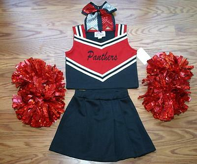 RED BLACK PANTHERS CHEERLEADER COSTUME OUTFIT HALLOWEEN 5 DELUXE POM POMS BOW - Panthers Cheerleader Costume
