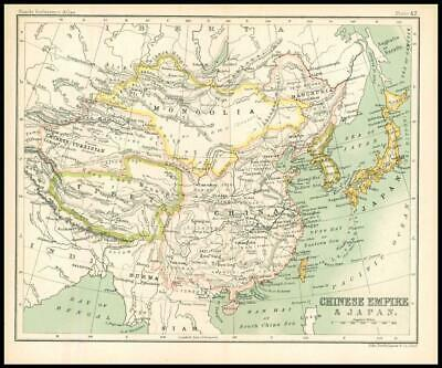 c1912 Map of CHINESE EMPIRE & JAPAN Chart Regions (BS46)