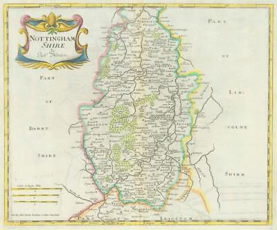 1722 Original Antique Map - NOTTINGHAMSHIRE by Robert Morden HAND COLOURED