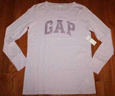 NEW NWT Womens GAP Arch Logo Glitter Bling Long Sleeve T-Shirt Purple Lilac *5Q