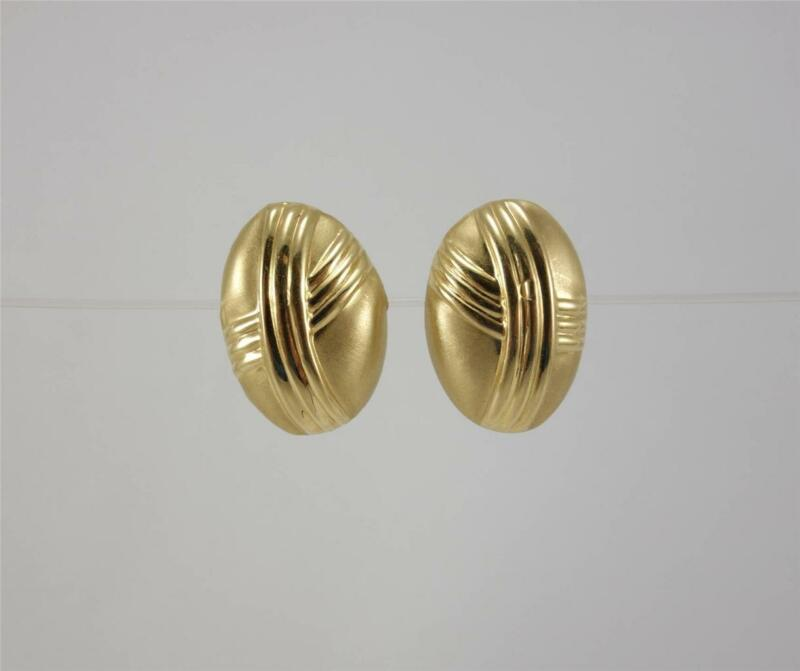 "14K yellow gold ladies 3/4"" oval post earrings w/ matte +polished finish 1g EUC"