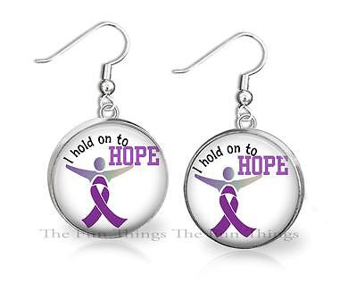 Alzheimers Support Purple Ribbon - Purple Ribbon Hold on to Hope Alzheimers Awareness Support Dangle Earrings 20mm