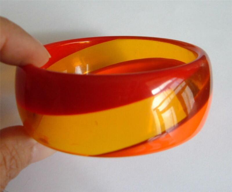 Vintage Orange Red Clear Yellow Amber Prystal Lucite Swirl Bangle Bracelet Wide