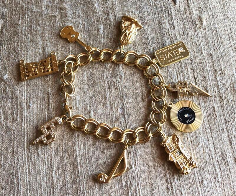 Elvis Presley Charm Bracelet Gold Tone with 9 Charms by EPE  7 1/2 inches