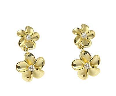 - YELLOW GOLD ON SILVER 925 HAWAIIAN 8MM DANGLE 10MM PLUMERIA FLOWER EARRINGS