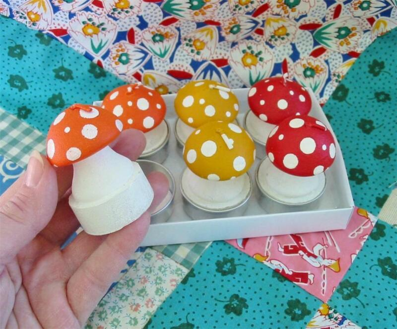 Set of 6 Little Christmas Mushroom Tealight Candles 3 Colors Cute Gift!