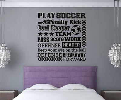 Play Soccer Vinyl Decal Wall Stickers Words Letters Sports Teen Room Decor - Soccer Room Decor