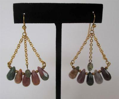Gold Vermeil Chain Multi Gemstone Chandelier Earrings Green Pink Purple Gold Vermeil Chandelier Earrings