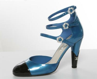 CHANEL Triple Strap Camelia Patent Blue Black Cap-Toe High Heel Pump Mary Jane 9 Triple Strap Mary Jane